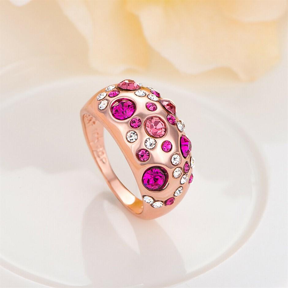Stunning 18K Rose Gold filled 12mm Big Wedding Band Ring Women's