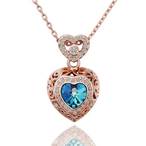 New 18K Rose Gold Filled Women's Blue Swarovski Crystal Necklace