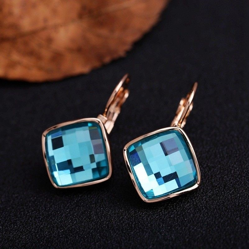 18K Rose Gold filled Blue Aqua CRYSTAL Square Hoop Huggie Earrings