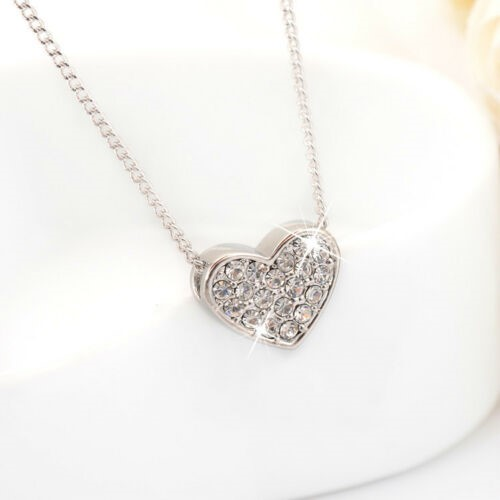 18K White Gold Filled Simple Cute Heart Stunning Crystal Pendant Necklace