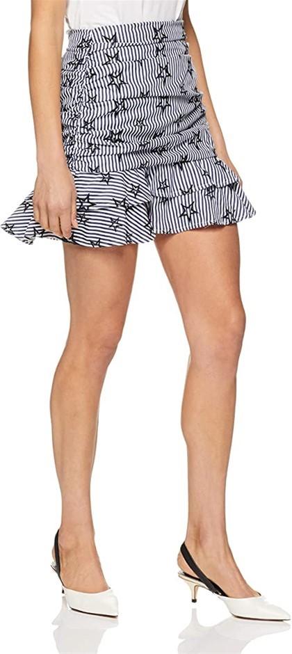 DELPHINE Womens Stars and Stripes Skirt, Slim Fit, Size 12, Colour Navy Str