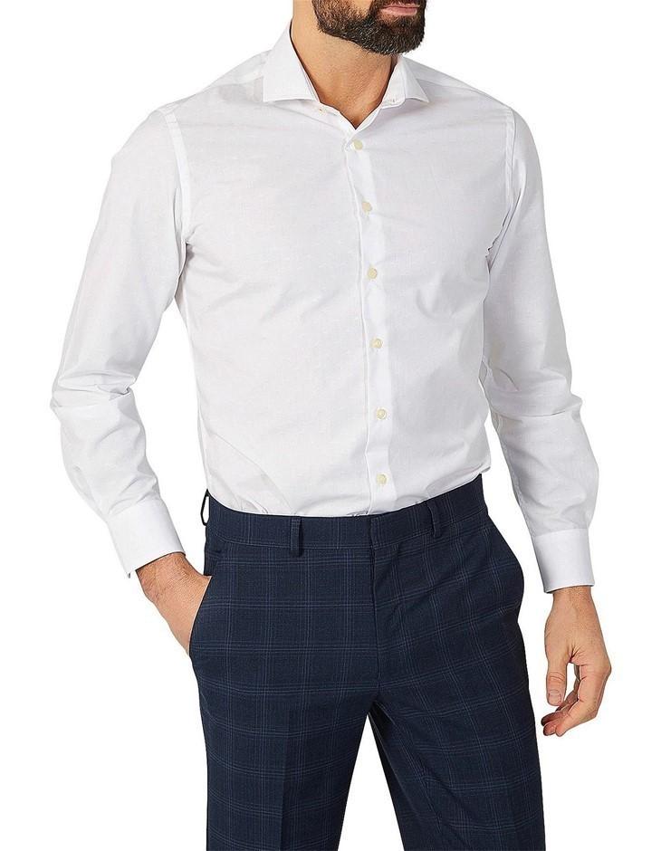 SIMON CARTER Fish Jacquard Shirt. Size 16.5, Colour: White. 100% Cotton. Bu