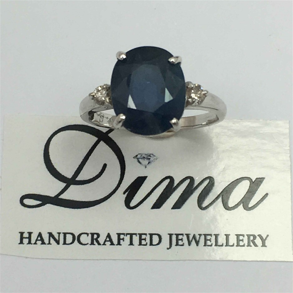 18ct White Gold, 5.20ct Blue Sapphire and Diamond Ring