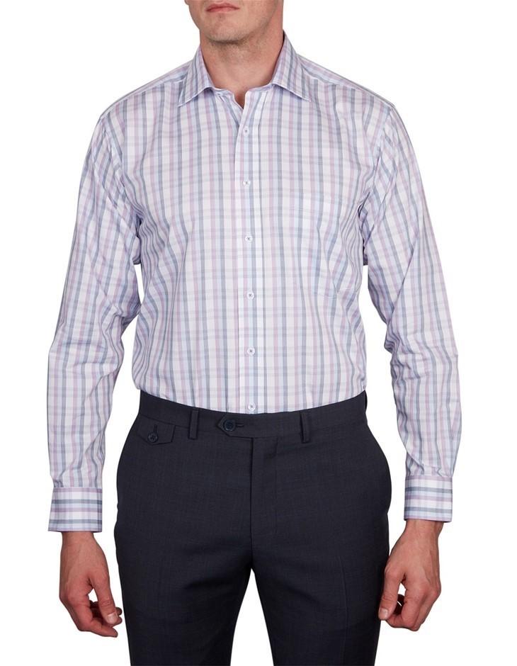 GEOFFREY BEENE Clift Check Shirt. Size 40, Colour: Mauve. 100% Cotton. Buye