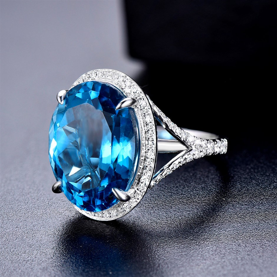 14ct White Gold, 18.06ct Blue Topaz and Diamond Ring