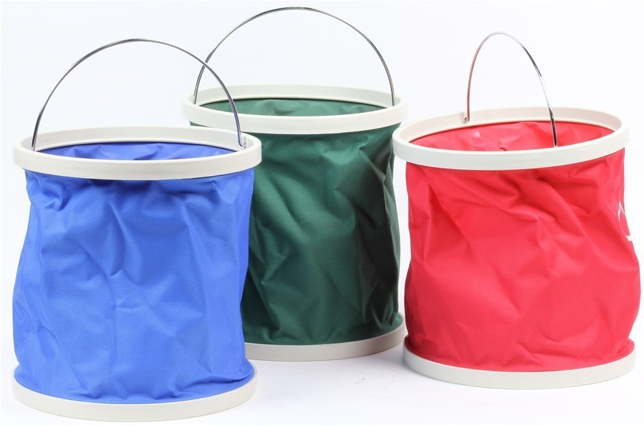 3 x Collapsible Buckets, 11Ltr, Red, Blue, Green. Buyers Note - Discount Fr