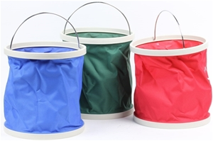 3 x Collapsible Buckets, 11Ltr, Red, Blu