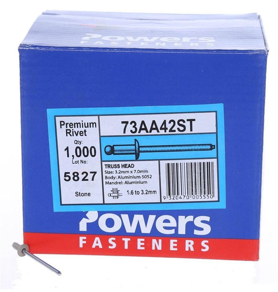 Pack of 1000 x POWERS Truss Head Rivets 3.2mm x 7.0mm, Aluminium, Stone (SN