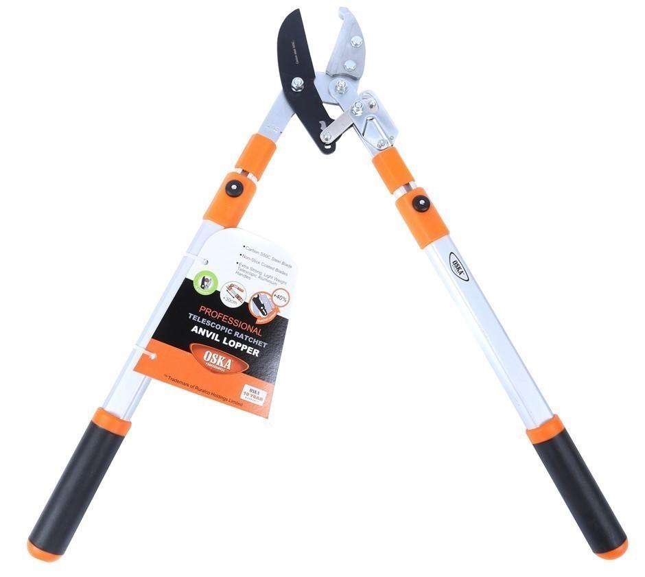 2 x OKSA Anvil Ratchet Loppers with Telescopic Aluminium Handle. Buyers Not