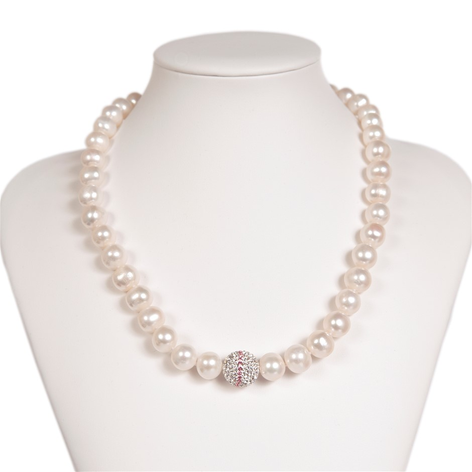 Freshwater Pearl & Crystal Set Necklace
