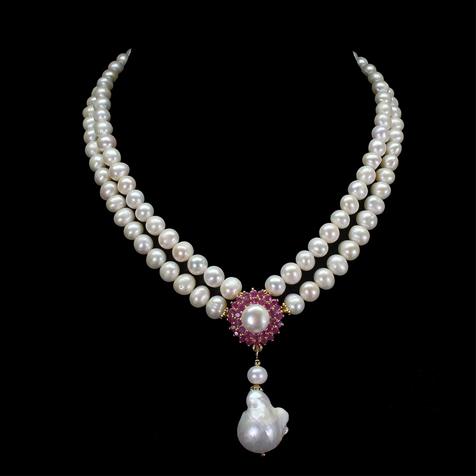 Royal Genuine Ruby & Pearl Necklace.