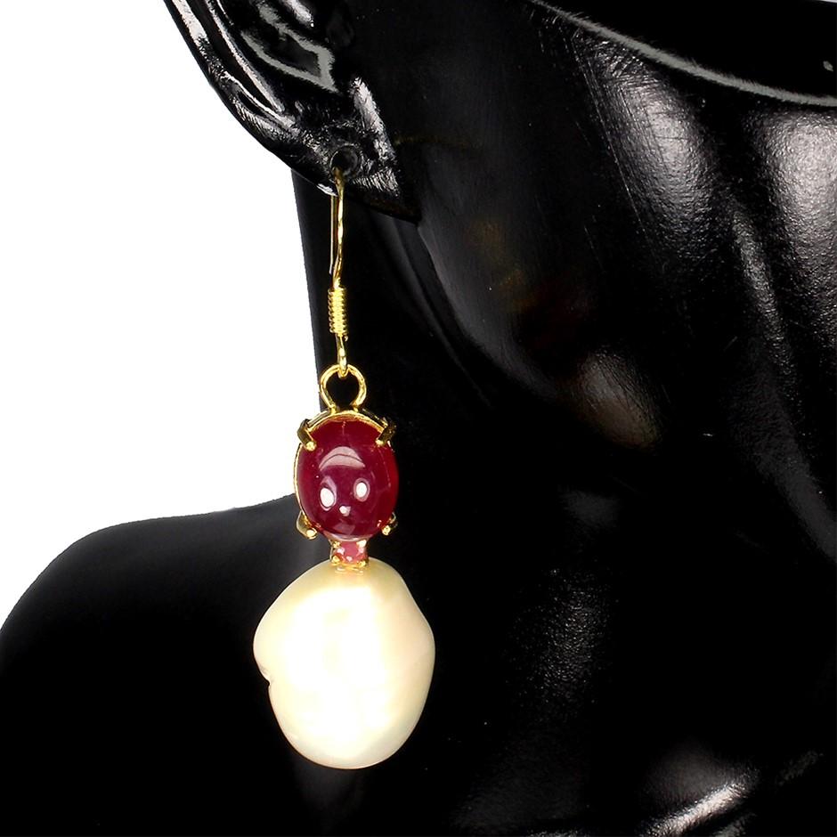 Beautiful Genuine Ruby & Pearl Drop Earrings.
