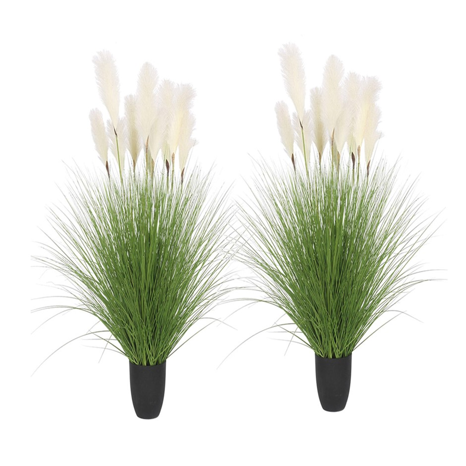 SOGA 2X 110cm Artificial Potted Reed Bulrush Grass Fake Plant Décor