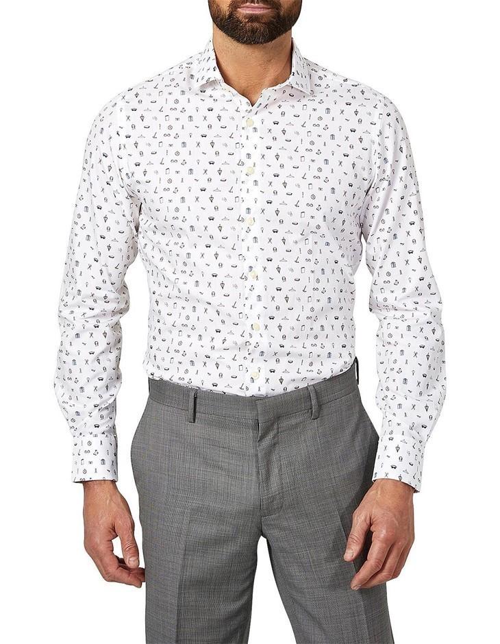 SIMON CARTER Accessories Print Shirt. Size 17, Colour: White. 100% Cotton.