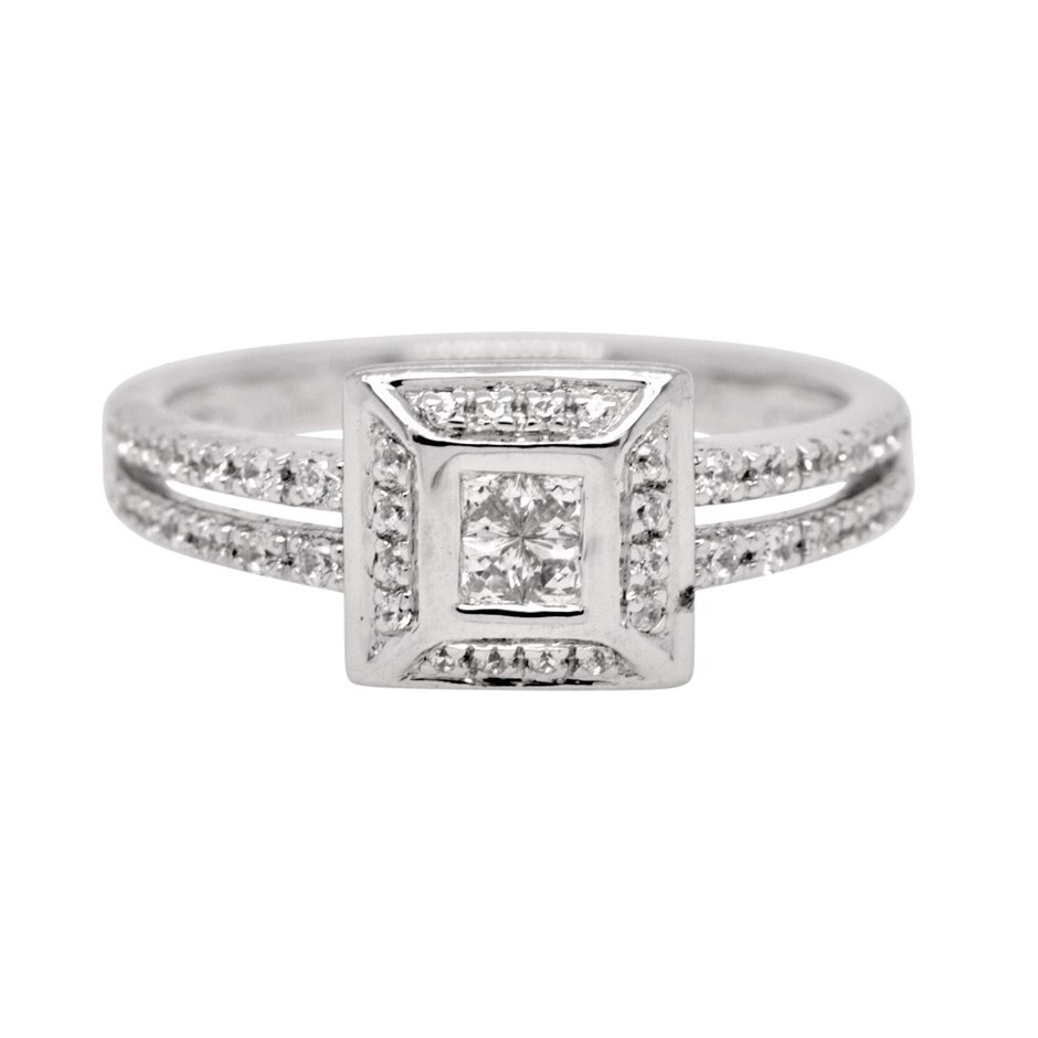 Sterling Silver White Princess Cut CZ Split Shank Ring.