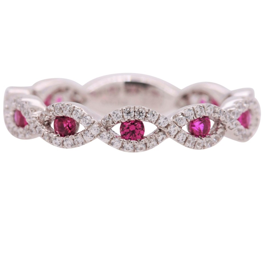 Sterling Silver White & Fuchsia CZ Infinity Dress Ring.