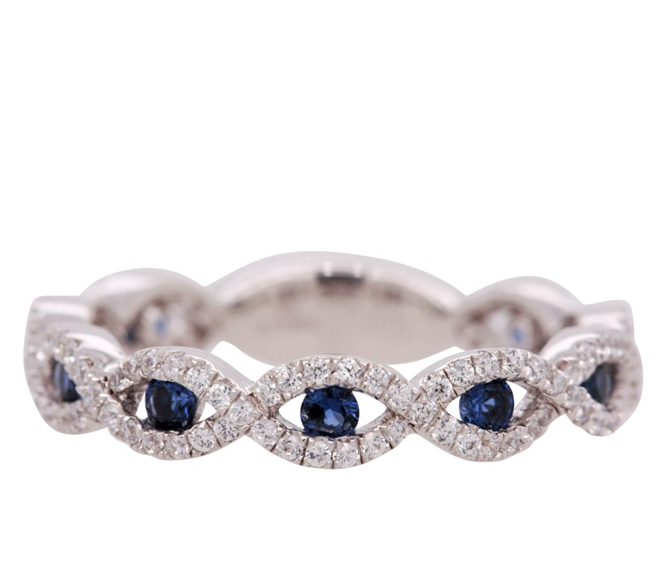 Sterling Silver White & Blue CZ Infinity Dress Ring.