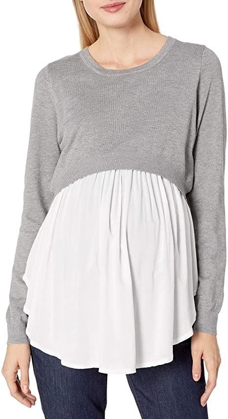 RIPE MATERNITY Womens Babydoll Nursing Sweater, Size XL, Colour Grey(Greyst