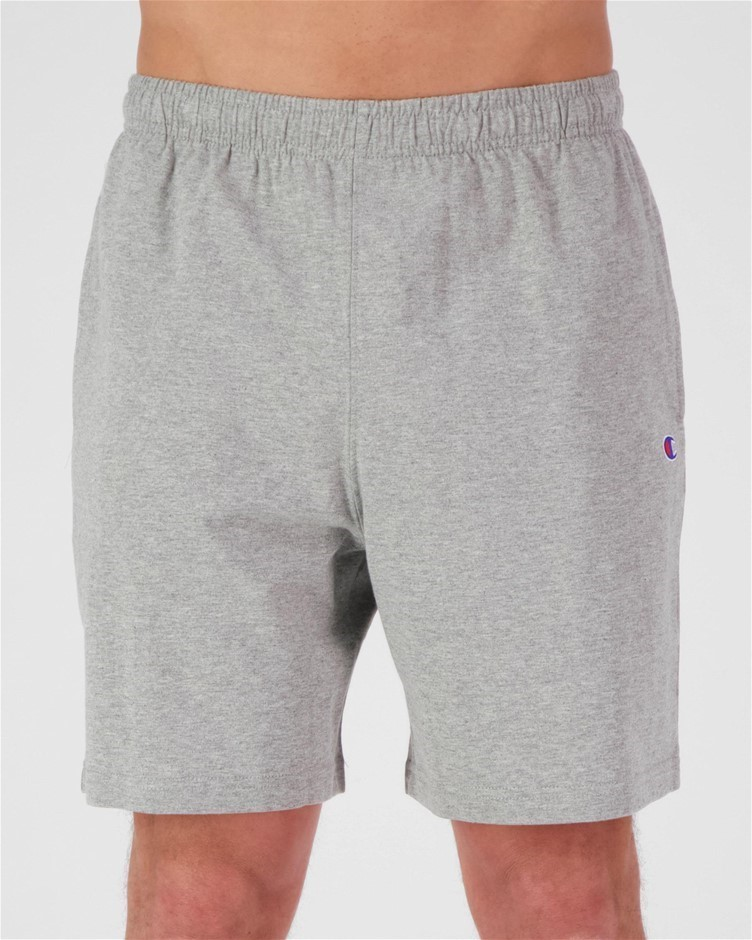 CHAMPION Men`s Logo Jersey Shorts, Size L, Cotton, Oxford Heather. Buyers N