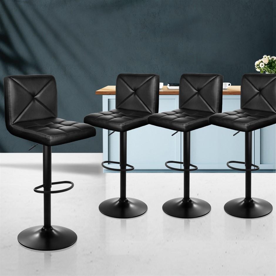 Artiss 4x Bar Stools Leather Chrome Kitchen Cafe Bar Stool Chair Gas Lift
