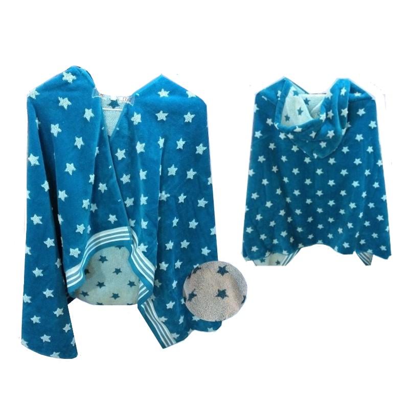 2 x CARO HOME Kid`s Hooded Towel, 69cm x 127cm, Blue Star. (SN:CC68666-K2)