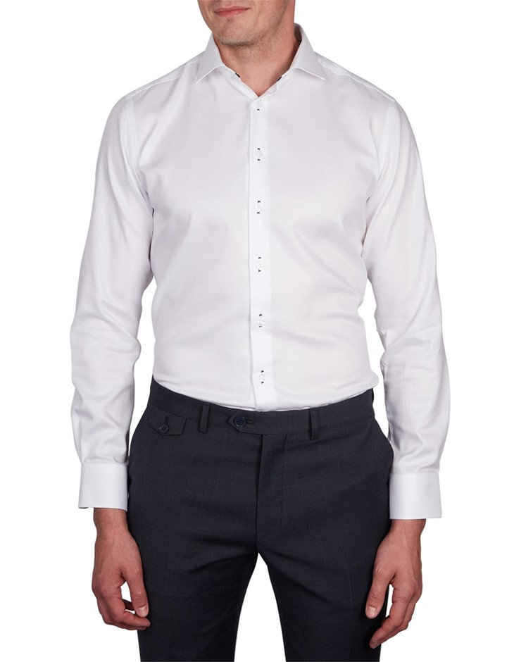 ABELARD Stitch Detail Twill Shirt. Size 44, Colour: White. 100% Cotton. Buy
