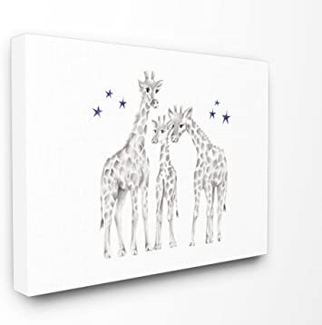 THE KIDS ROOM BY STUPELL Giraffe Family Graphite Wall Art, 24 x 30 Inches.