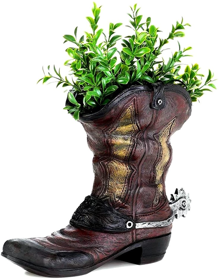 TROIS WESTERN SPURRED COWBOY BOOT PLANTER HOME DECOR, 7.62 x 4.31 x 9 inche