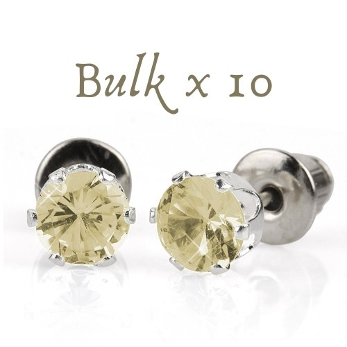 BULK PACK - 10 x 5mm Birthstone Earrings (April) - Great Gift Idea