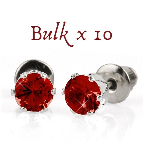 BULK PACK - 10 x 5mm Birthstone Earrings (July) - Great Gift Idea