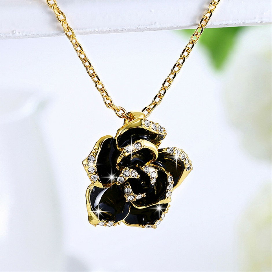 18K Yellow Gold Filled CZ Black Enamel Flower Pendant Chain Necklace