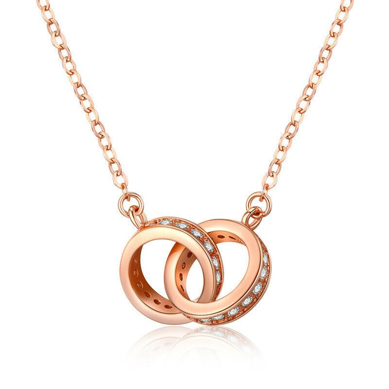 18K Rose Gold filled Two Circle Pave Clear CZ Crystal Pendant Necklace