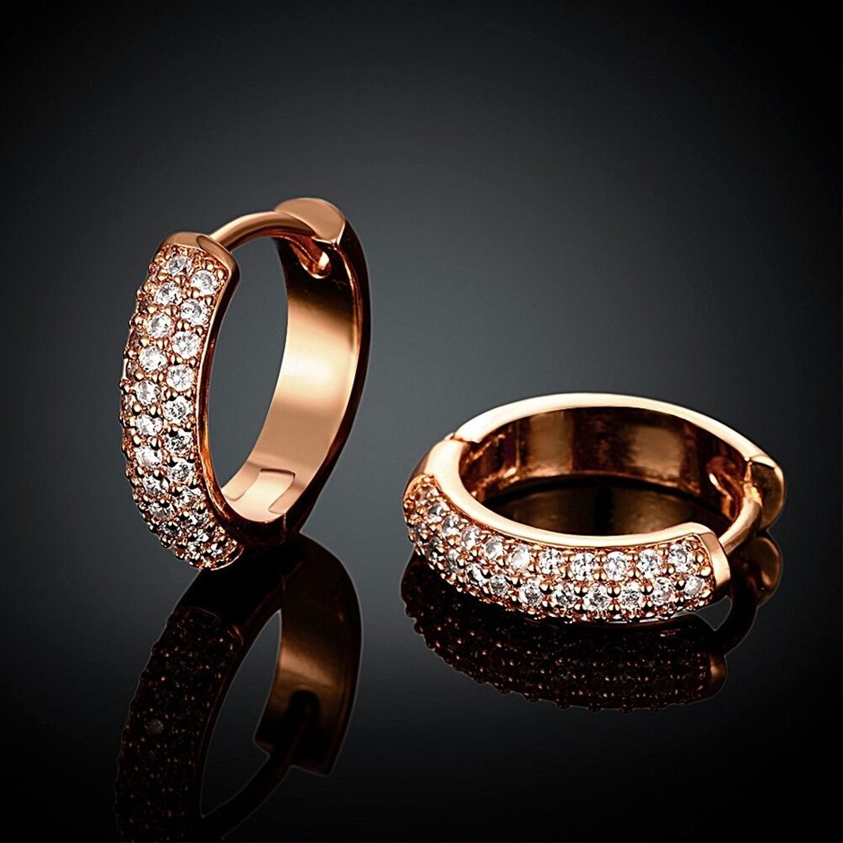 18K Rose Gold Filled GF GP Huggie Hoop Earrings With SWAROVSKI Crystal