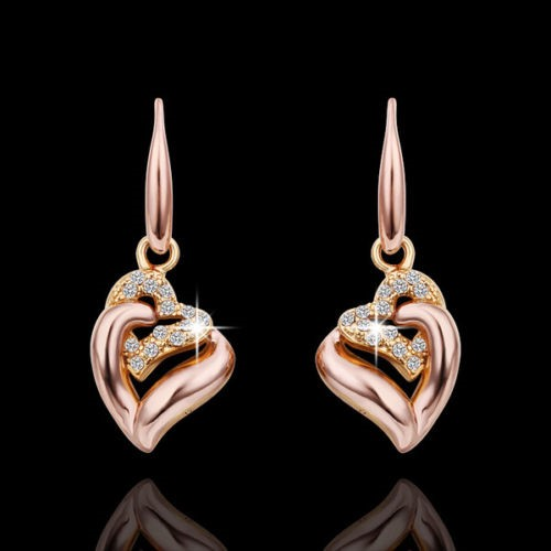 18K Rose Gold Filled Clear Cubic Zirconia Crystal Love Dangly Earrings