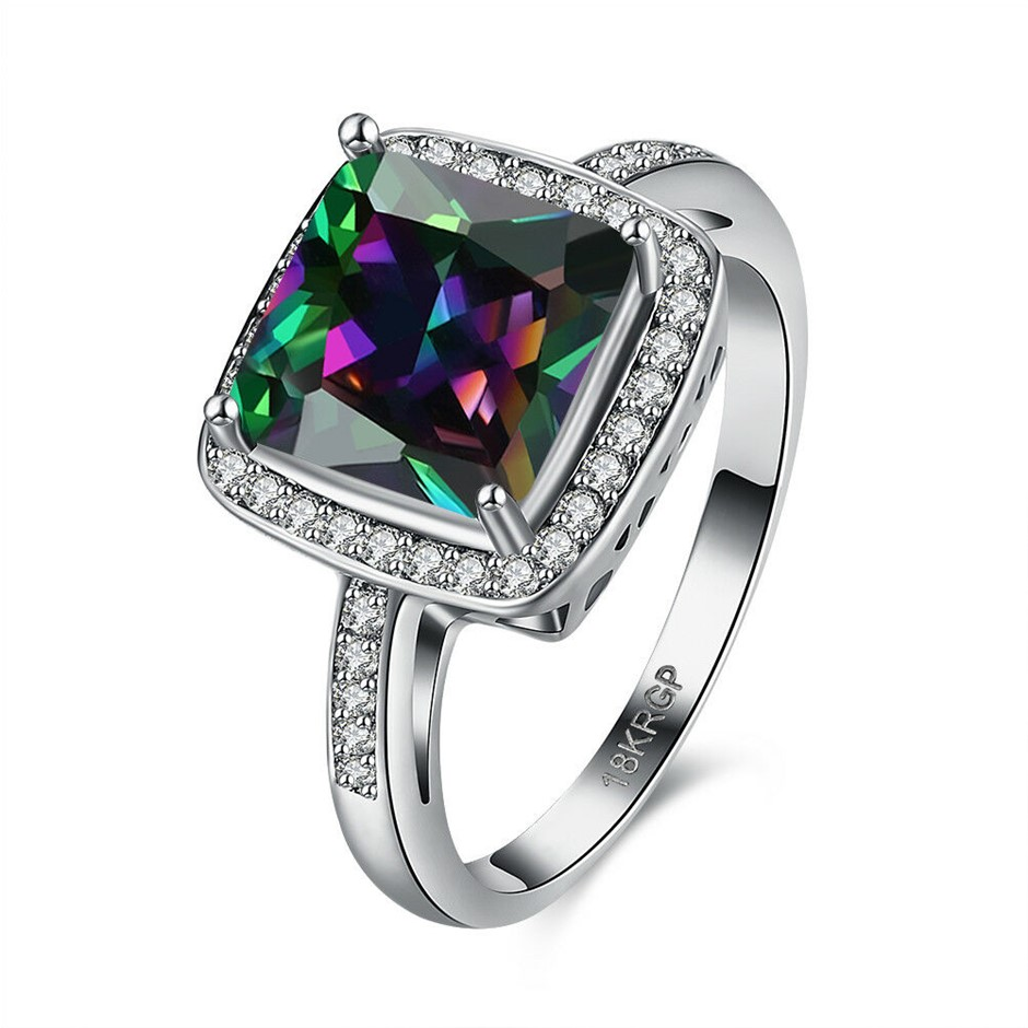 18K White Gold Filled Square Rainbow CZ With Pave Crystal Wedding Ring