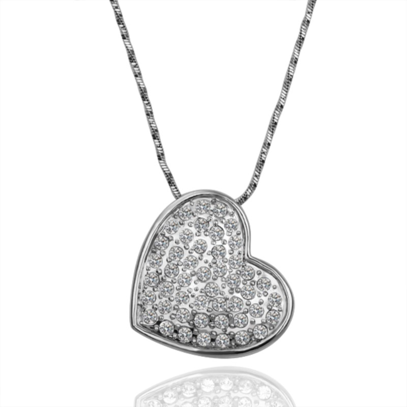 18CT White Gold Filled GF Heart Crystals Pendant Chain Necklace