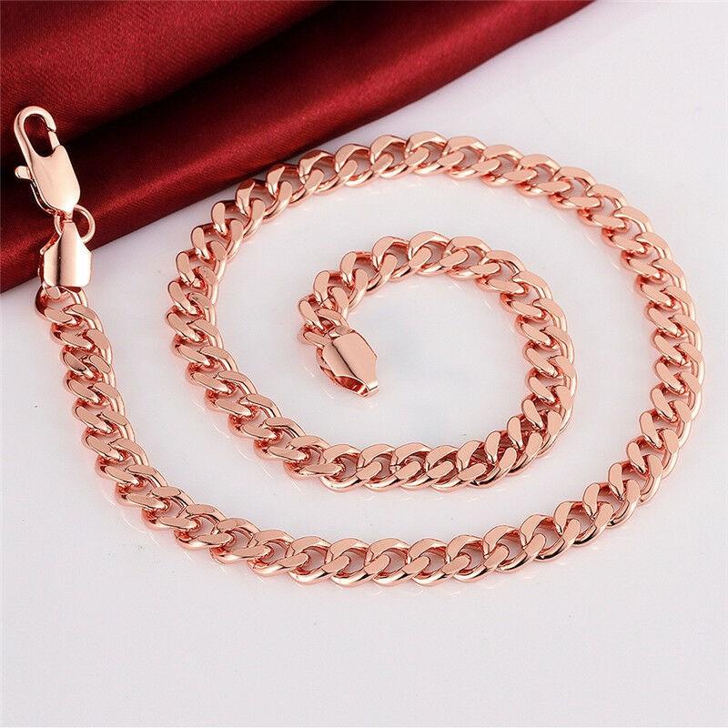 18k Rose Gold Filled GF Curb Link 8mm Necklace