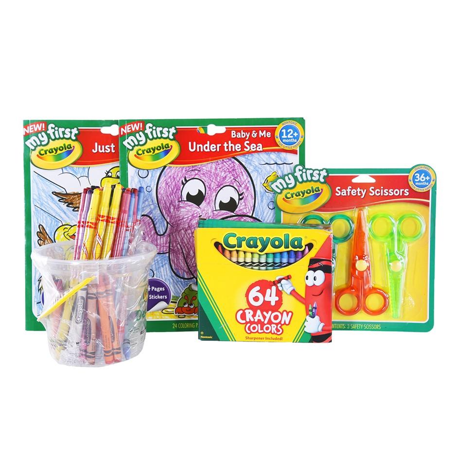 2 x CRAYOLA Coloring books + CRAYOLA Set of Scissors + Crayon Colors, N.B D