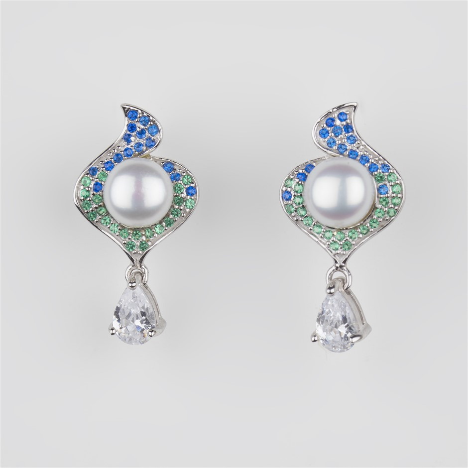 One Pair Of Sterling Silver Freshwater Pearl And CZ Set Earrings