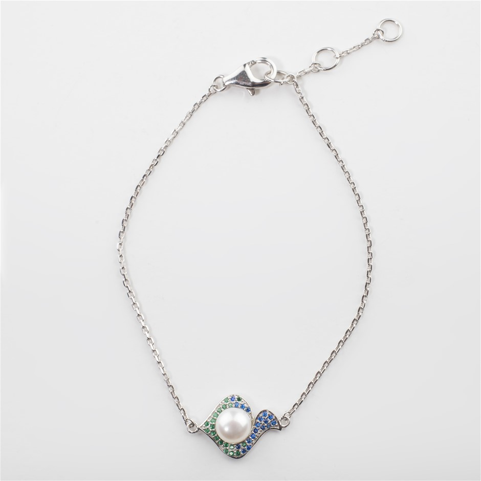 Sterling Silver Bracelet, Freshwater Pearl & CS set