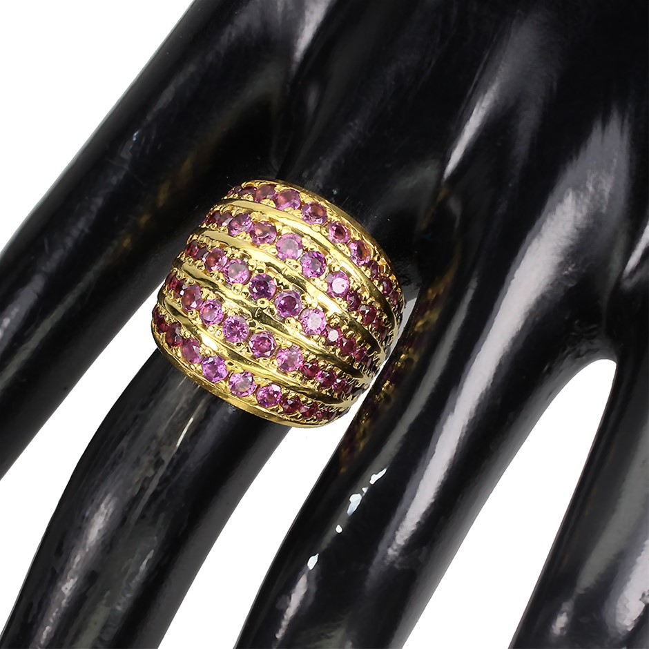 Stunning Genuine Rhodolite Garnet Statement Ring
