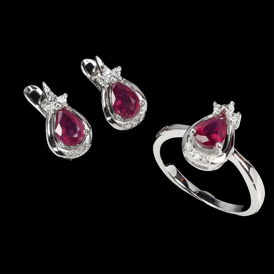 Gorgeous Genuine Ruby Earrings & Ring set.