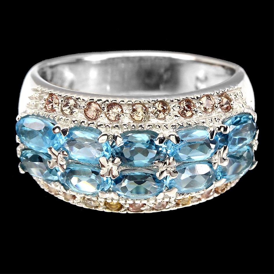 Gorgeous Genuine Swiss Blue topaz & Sapphire Ring
