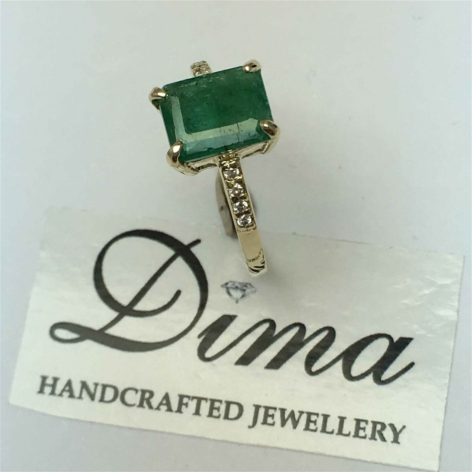 9ct Yellow Gold, 1.68ct Emerald and Diamond Ring