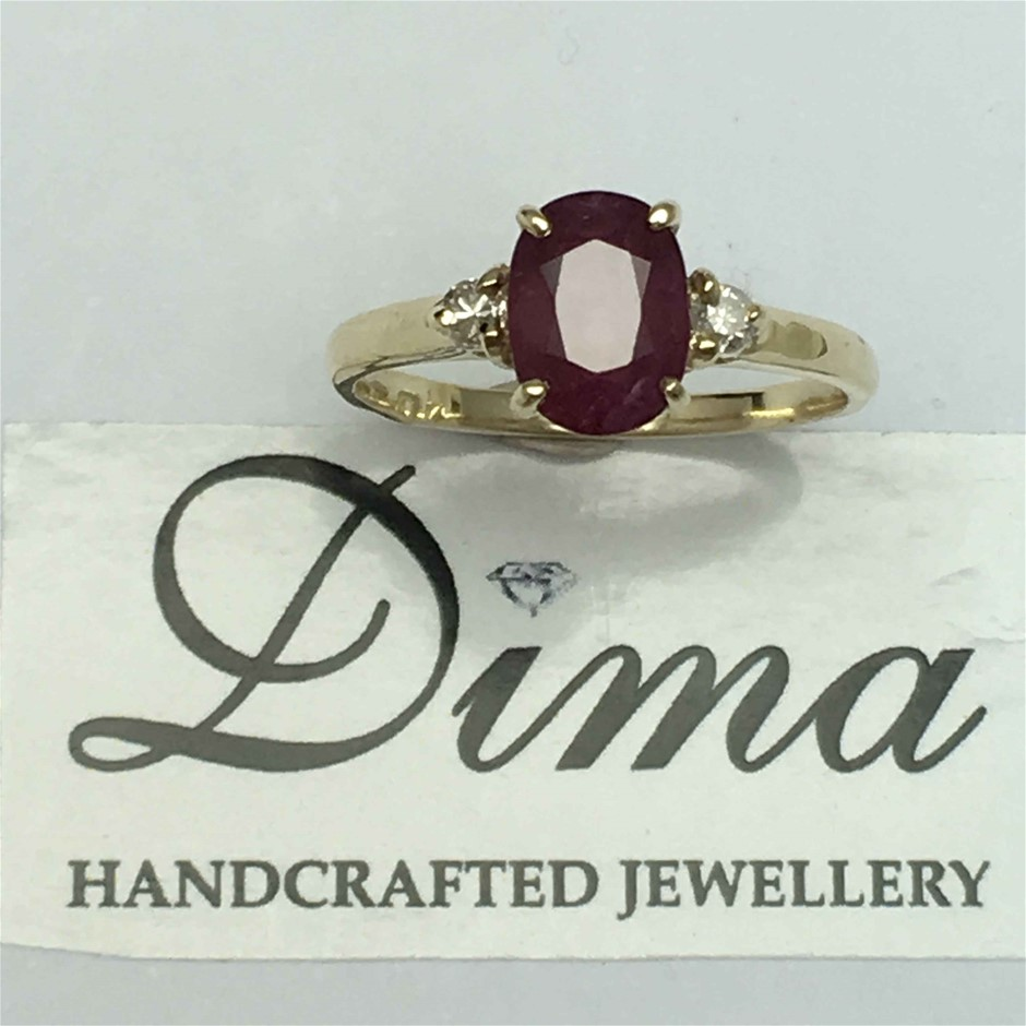 9ct Yellow Gold, 2.01ct Ruby and Diamond Ring