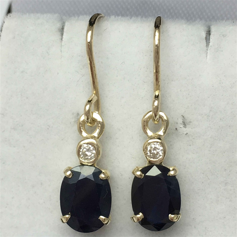 9ct Yellow Gold, 3.48ct Sapphire and Diamond Earring