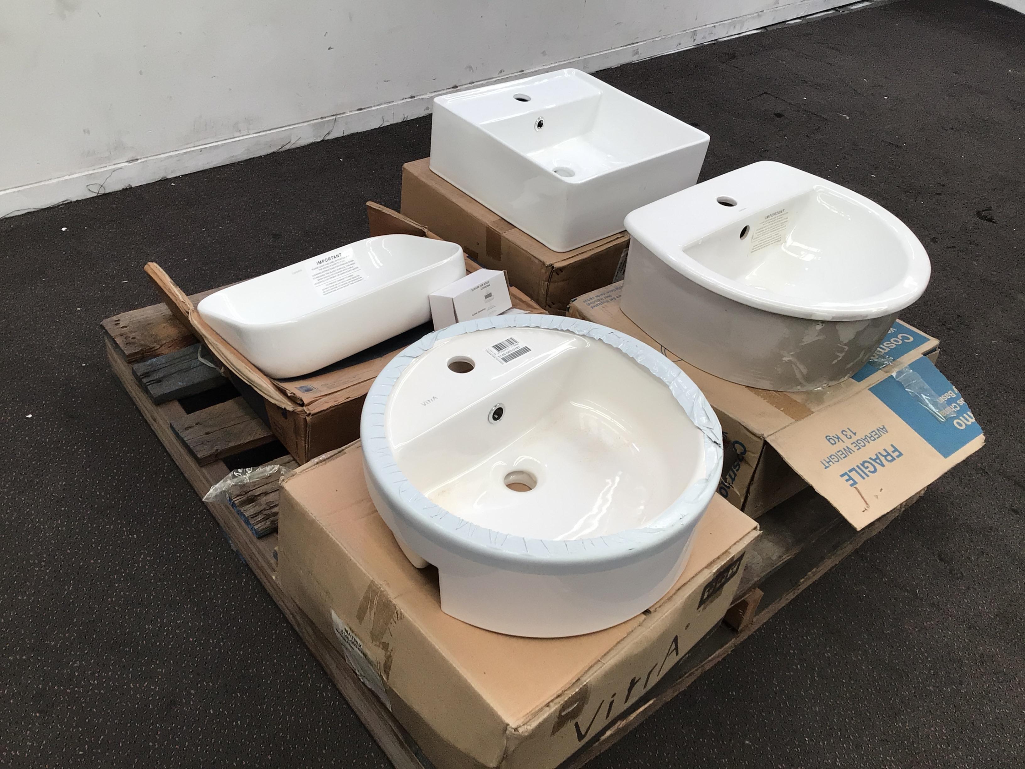 6x Various Ceramic Bathroom Basins