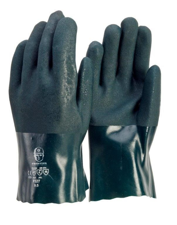 24 x Sand Finish PVC Double Dipped Gloves, Size L, Cotton Interlocked Linin