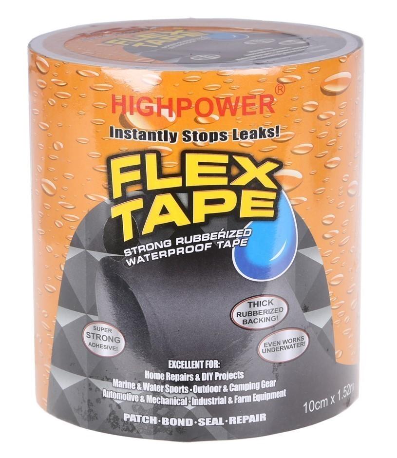 4 x FLEX TAPE Rubberised Waterproof Seal Repair 1.5M x 100mm Width, Black.