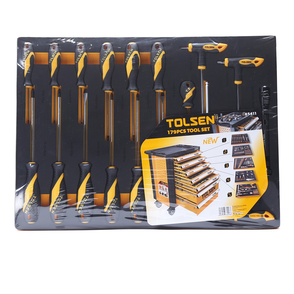 TOLSEN 20pc Insert Screwdriver Set, Contents: 14pcs screwdrivers SL: 6.5x38